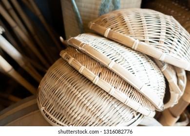Flat rattan basket