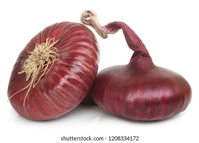 Flat red onion on white background