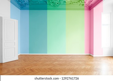 flat renovation concept, colored room with wall paint color variations
