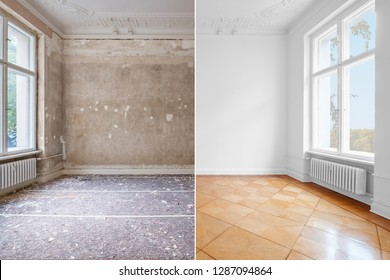 flat renovation, empty room before and after refurbishment old and new interior