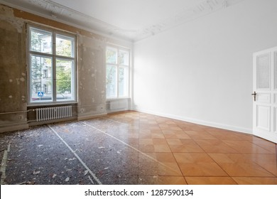flat renovation, empty room before and after refurbishment or restoration photo merge