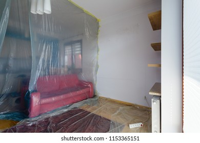 Flat renovation, living room secured with protective film