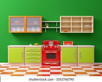 flat retro kitchen interior in 50s style. 3d illustration