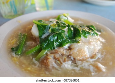 Flat rice noodle in egg gravy or well known as 'Wan Tan hor' a chinese cuisine which is served in most Chinese restaurant or food stalls in Sabah.