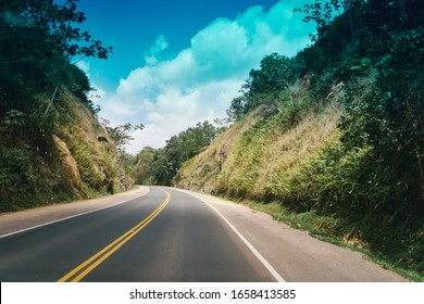 flat road with blue sky