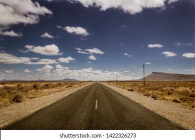 flat road in desert converging lines