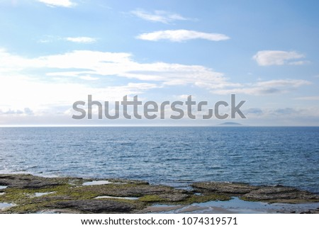 Flat rock coast with limestone ground on the swedish island Oland in the Baltic Sea
