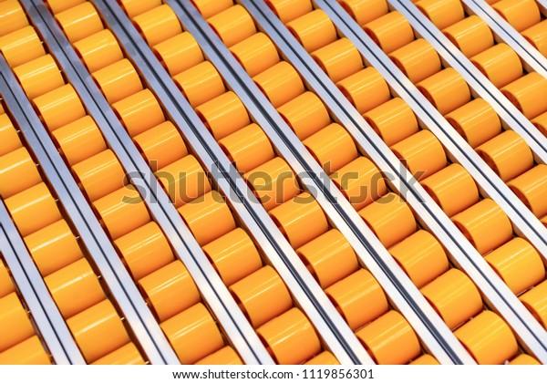 Wondrous Flat Roller Table Roller Conveyor Closeup Stock Photo Edit Interior Design Ideas Tzicisoteloinfo