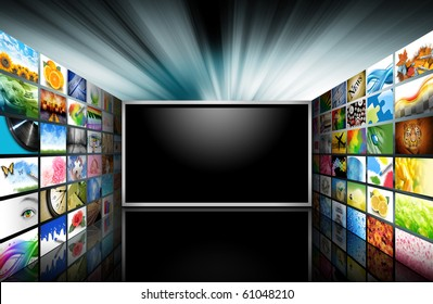 A flat screen television has a blank black text area with photo images coming out of the sides of it. The tv has a glowing light coming out the top. Use it for a media technology concept.