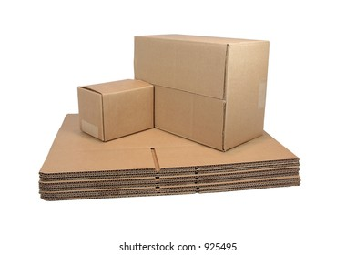 Flat and Sealed Shipping Cartons  (with clipping path)