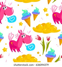 Flat seamless pattern with cute unicorn, stars,  ice cream cone, magic cloud, spring tulip flower and heart isolated on white background. Cartoon style. Package design, children illustration.