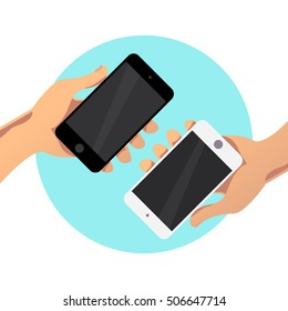 Flat simple illustration with human hand holding smartphone isolated on white background. Mock up. Good for app demonstration, web interface  screen illustration.