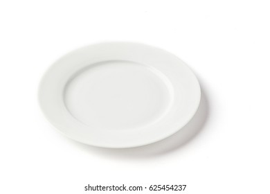 flat small white plate on a white background