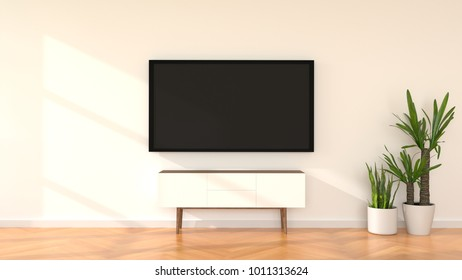 Flat smart TV mock up in modern white living room. 3d rendering.