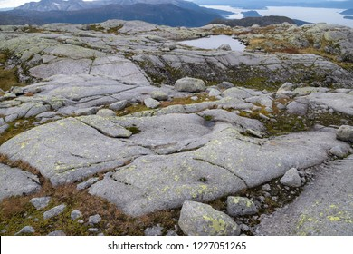 Flat  stone surface of glacial erosion in the mountains in Kvinnherad, Norway.