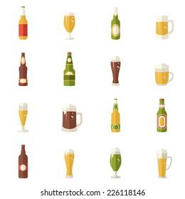 flat style Beer Juice drink bottle icon. Set of  sombol, illustration