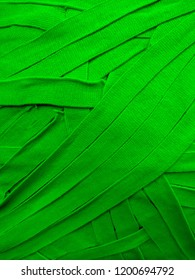 Flat texture, multi-colored green ribbons, small parts, material, fabric coating
