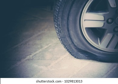Flat tire with car