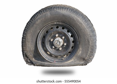 flat tire Separated from the background white background.