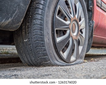 Flat tires on the car