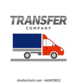 Flat truck icon. Delivery service logo design. Transportation company symbol.