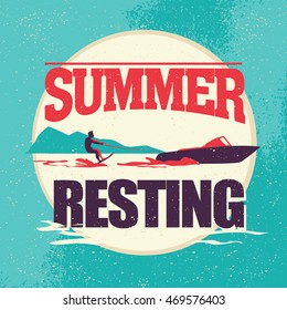 Flat water skiing logo illustration. Vintage, retro style. Surfer silhouette. Human figure. Extreme sport, summer resting. Summer banner, poster, placard, travel card design template.