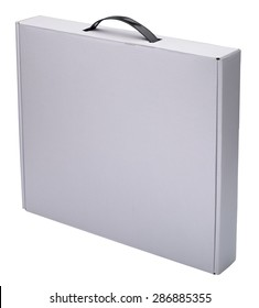 Flat white cardboard box with handle isolated on white. No shadow. In vertical situation.