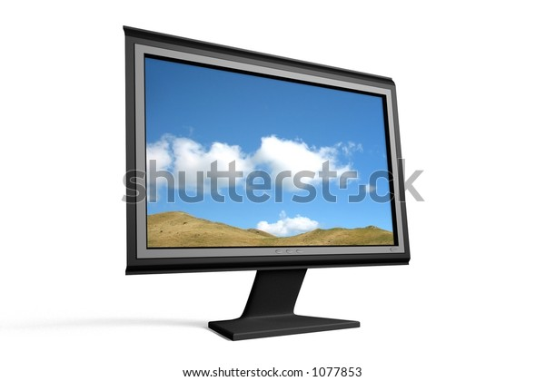 Flat- and wide-screen monitor/tv (with screen image)