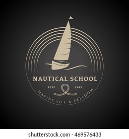 Flat yacht club regatta logo design stock illustration 469576433 flat yacht club regatta logo design sailing boat ship icon silhouette toneelgroepblik Images