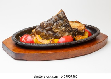flatfish with a boiled vegetables