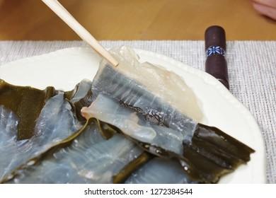 flatfish with marinated kelp.