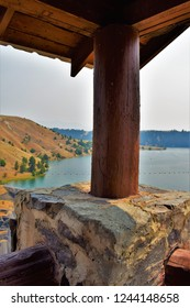 Flathead River at Kerr Dam from the Lookout, Montana, USA