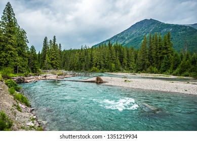 flathead river rapids in glacier national park montana