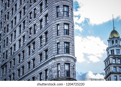Flatiron building, Manhattan, New York, USA, October 13 2018. Close up shot of the famous Flatiron building showing the detailed brick work.