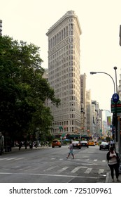The Flatiron Building is a triangular 22-story steel-framed landmarked building located at 175 Fifth Avenue in the borough of Manhattan, USA, New York, August 3, 2017