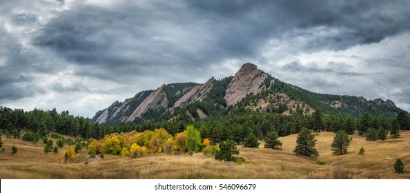 Flatiron Mountains Panorama on a cloudy day