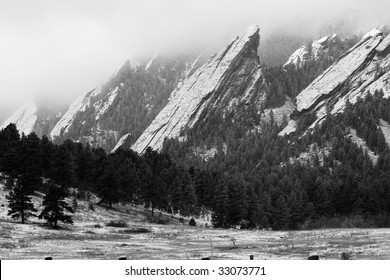 Flatirons of Boulder Colorado in the winter