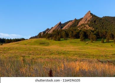 The flatirons of boulder glow in the morning sun with a field in the foreground.