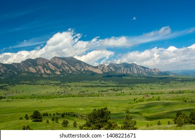 The Flatirons Mountains in Boulder, Colorado on a Sunny Day