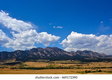 The Flatirons Mountains in Boulder, Colorado on a Sunny Summer Day