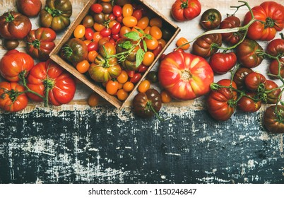Flat-lay of fresh colorful ripe Fall or Summer heirloom, bunch and cherry tomatoes veriety over dark rustic painted background, top view, copy space. Local market seasonal produce
