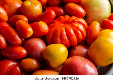Flat-lay of fresh colorful ripe Fall or Summer heirloom tomatoes variety over rustic background, top view.