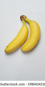 Flatlay photography - two bananas are on white background