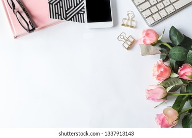 Flatlay with pink items