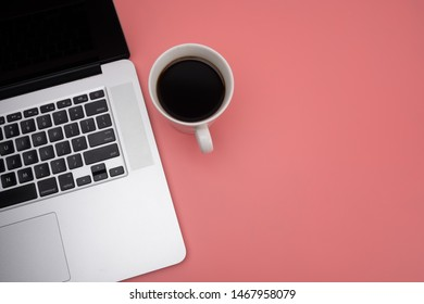 Flatlay simple workspace, laptop with copy space, template web banner design