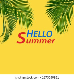 Flat-lay of tropical green palm branchestop view, copy space, wide composition. Summer vacation, travel or fashion concept