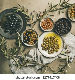 Flat-lay of various kinds of Mediterranean pickled olives in plates and olive tree branches over grey concrete table background, top view, copy space, square crop. Mediterranean meze appetizer