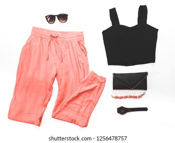 flatlay women's fashion clothing, color of the year 2019 Living coral