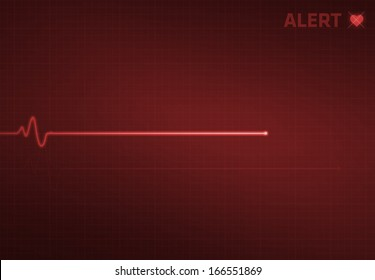 Flatline blip on a medical heart monitor EKG (electrocardiogram) with red background and heart symbol.