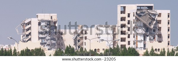 Flats (apartments) being demolished in Qatar, Arabia, as part of the major redevelopment of Doha for the Asian Games 2006.